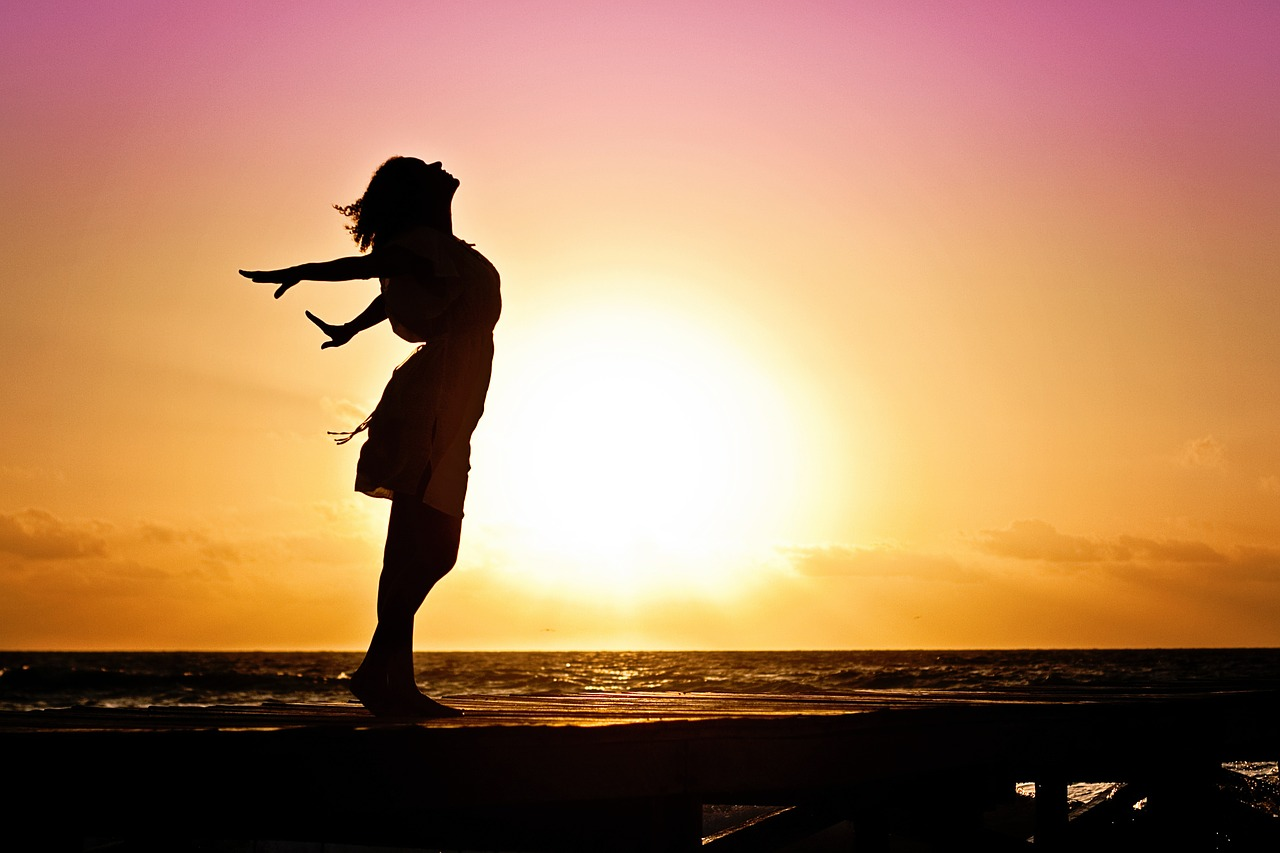 Image - woman happiness sunrise silhouette